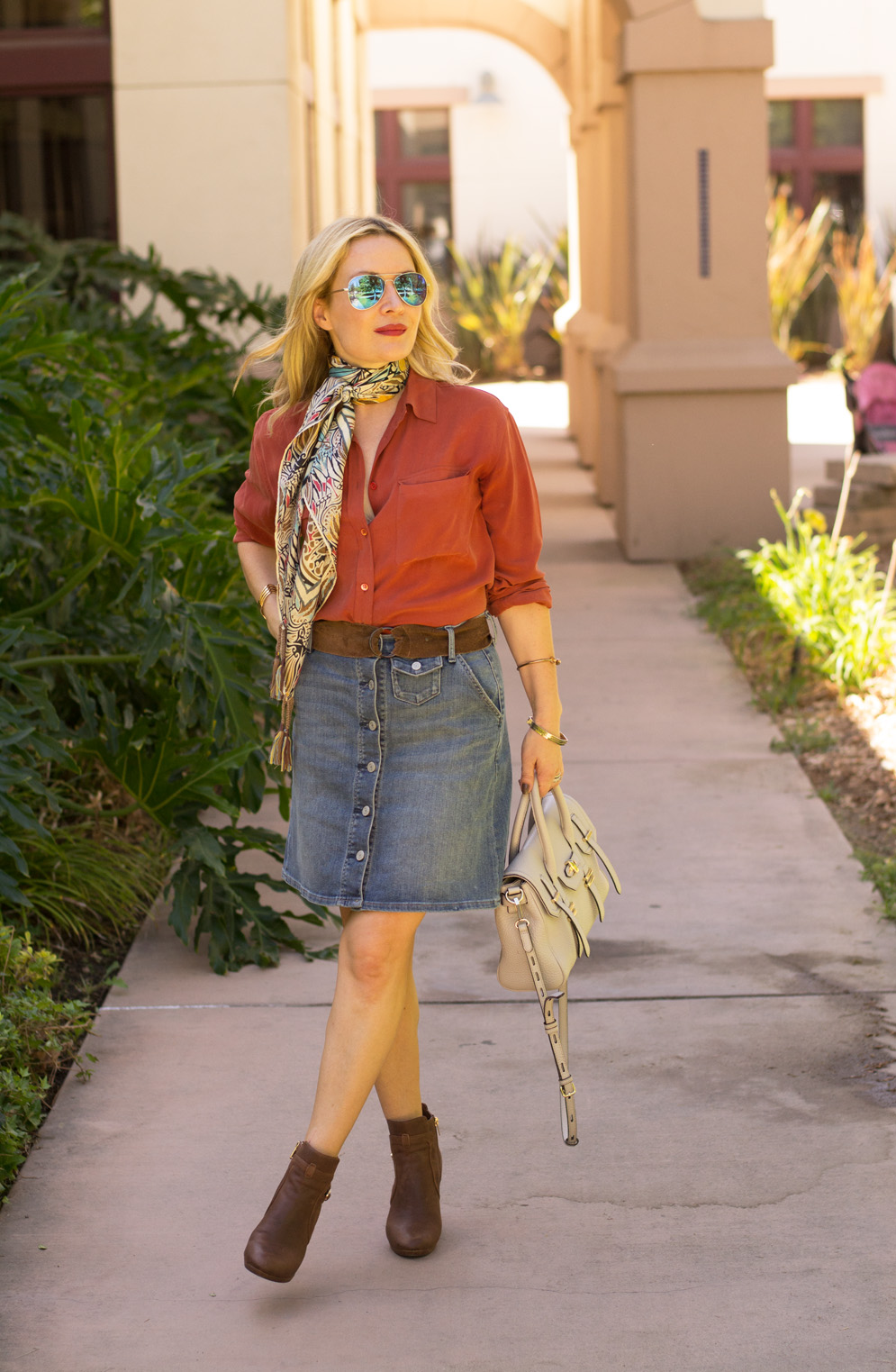 Silk Scarf Denim Skirt Silk Blouse The Hunter Collector