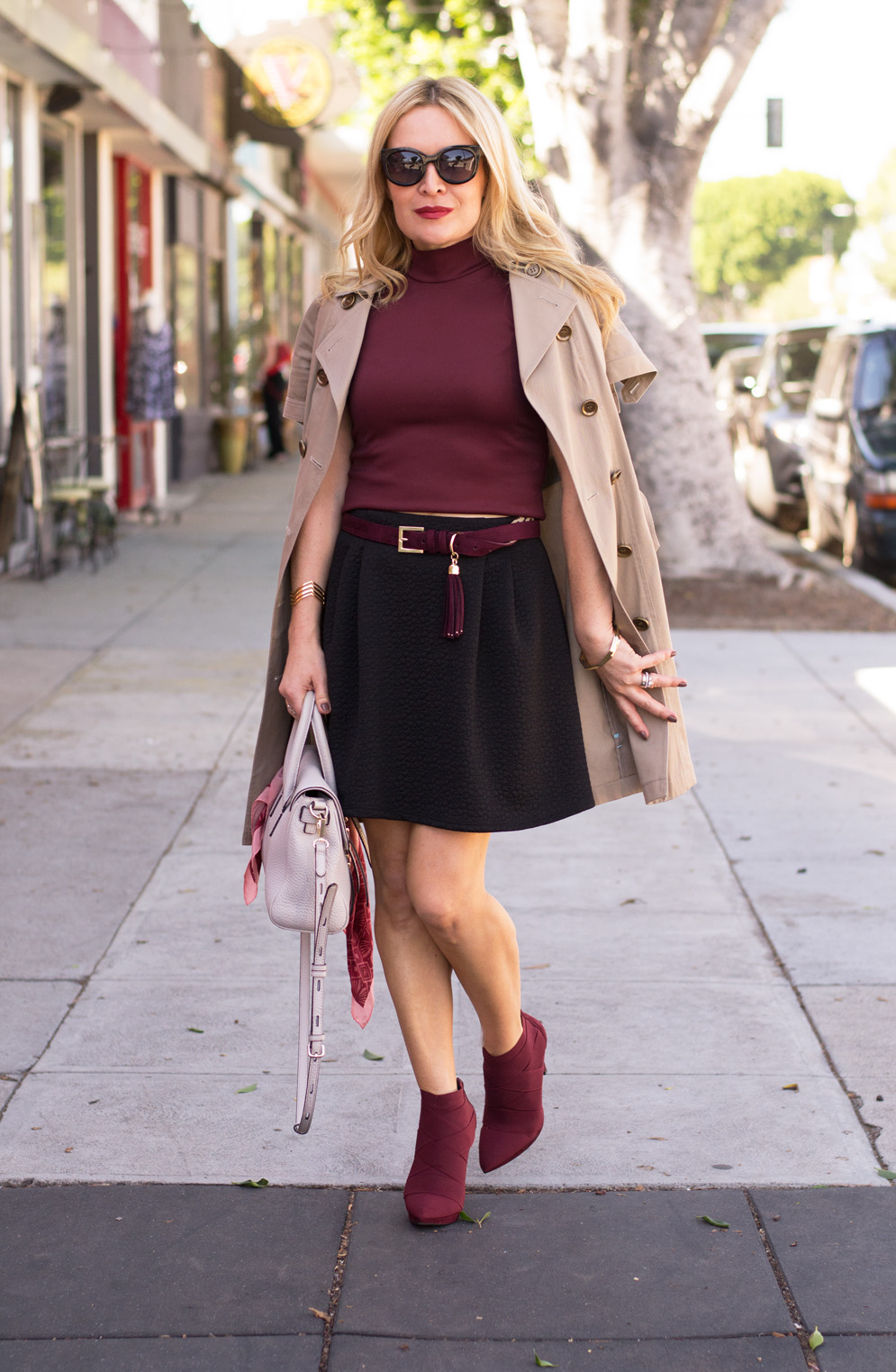 sleeveless trench a line skirt ankle boots the