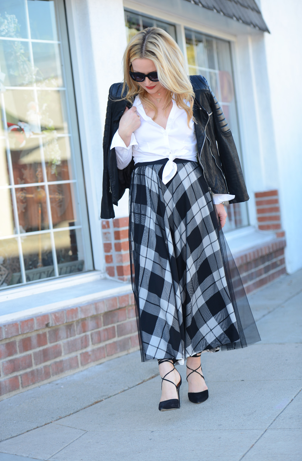 42c31a319e Plaid Tulle Skirt. Faux Leather Moto. | The Hunter Collector