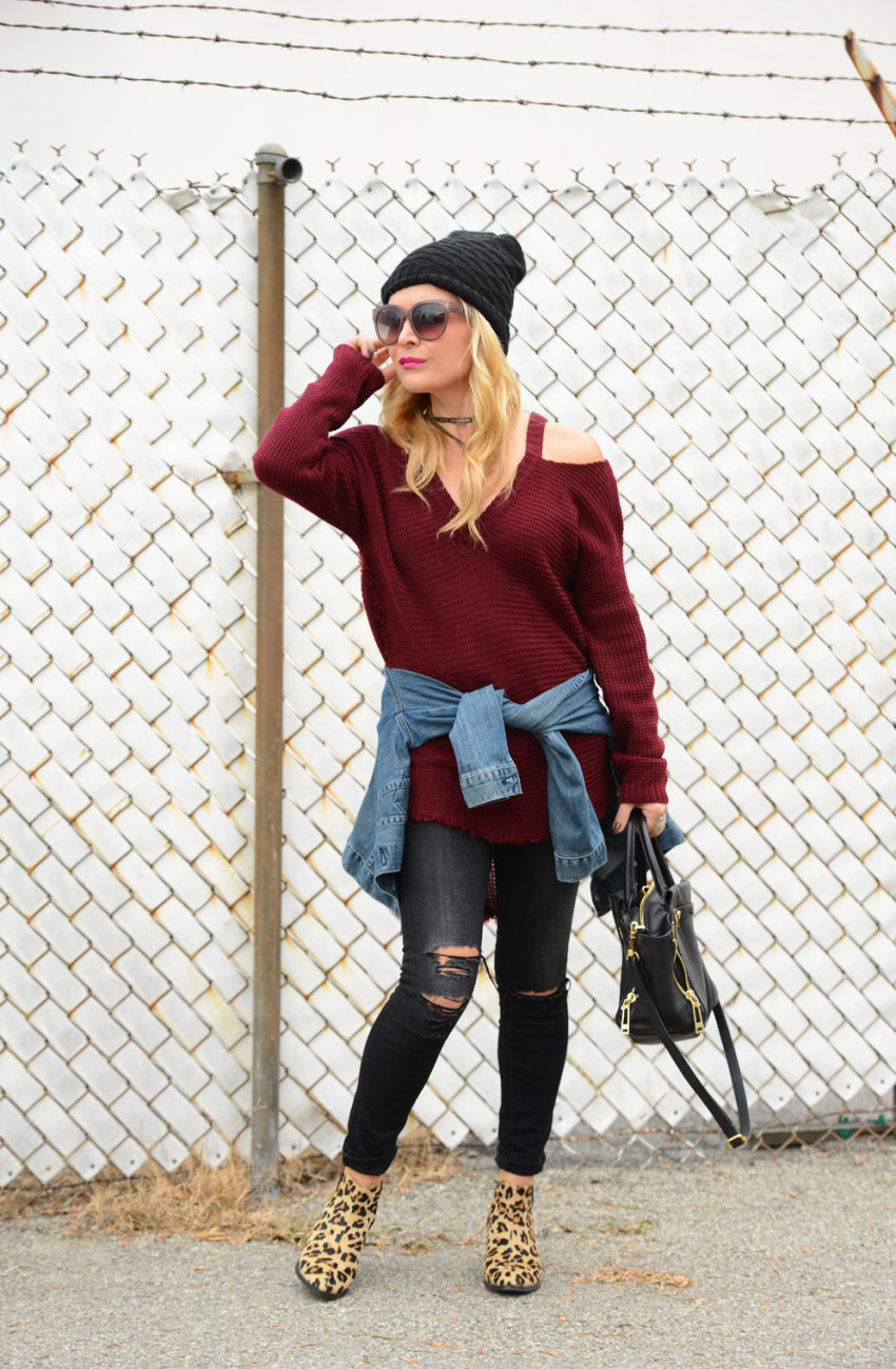 cold shoulder sweater 1