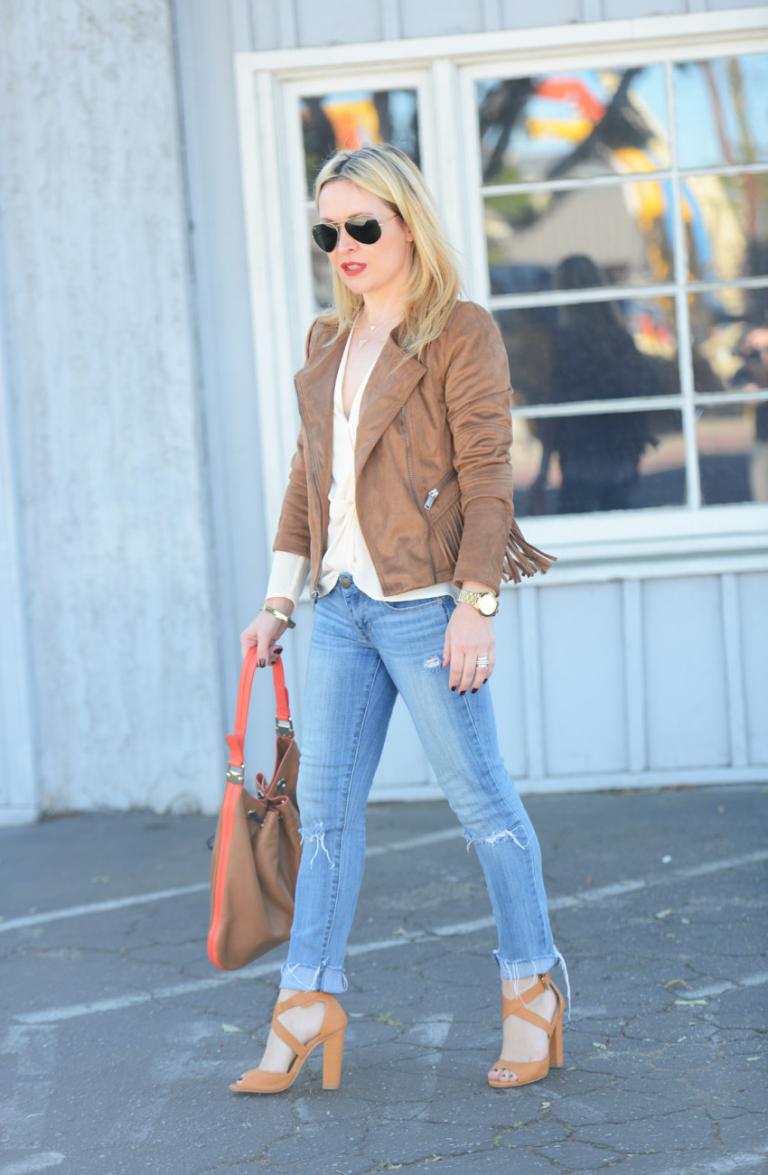 wilsons leather 2 - Fringe Suede Jacket, Silk, Denim featured by popular Los Angeles fashion blogger, The Hunter Collector
