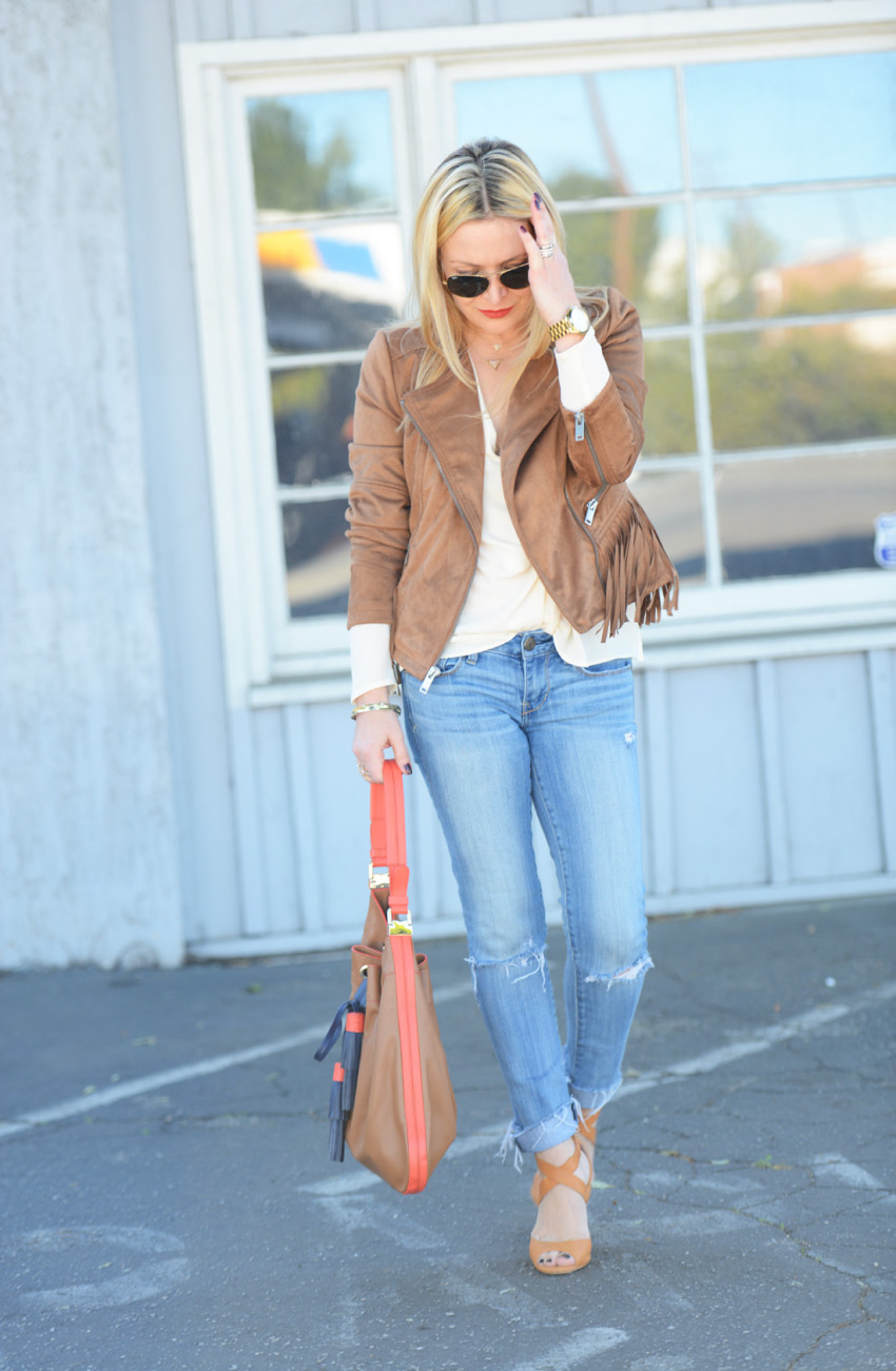 wilsons leather 3 - Fringe Suede Jacket, Silk, Denim featured by popular Los Angeles fashion blogger, The Hunter Collector