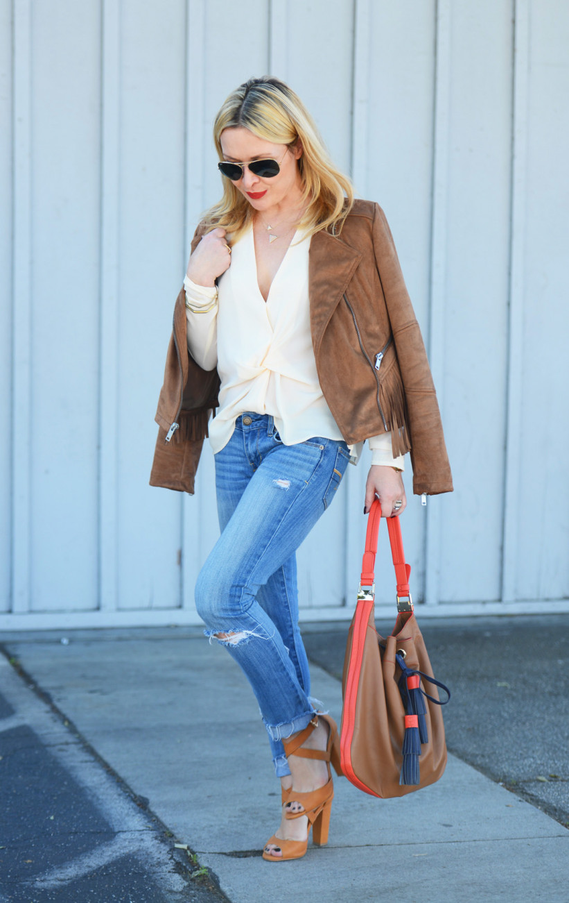 wilsons leather 4 - Fringe Suede Jacket, Silk, Denim featured by popular Los Angeles fashion blogger, The Hunter Collector