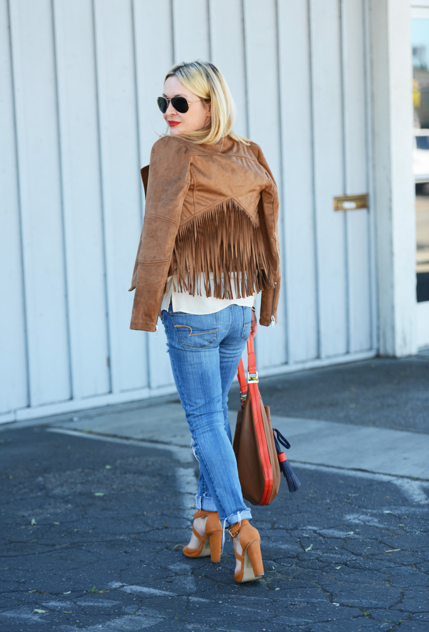 wilsons leather 5 - Fringe Suede Jacket, Silk, Denim featured by popular Los Angeles fashion blogger, The Hunter Collector