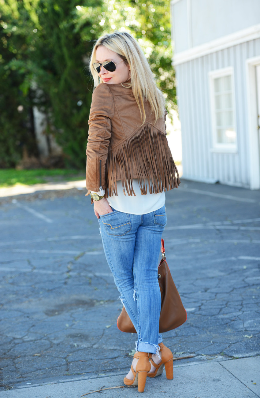 wilsons leather 7 - Fringe Suede Jacket, Silk, Denim featured by popular Los Angeles fashion blogger, The Hunter Collector