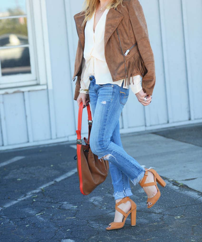 wilsons leather 8 - Fringe Suede Jacket, Silk, Denim featured by popular Los Angeles fashion blogger, The Hunter Collector