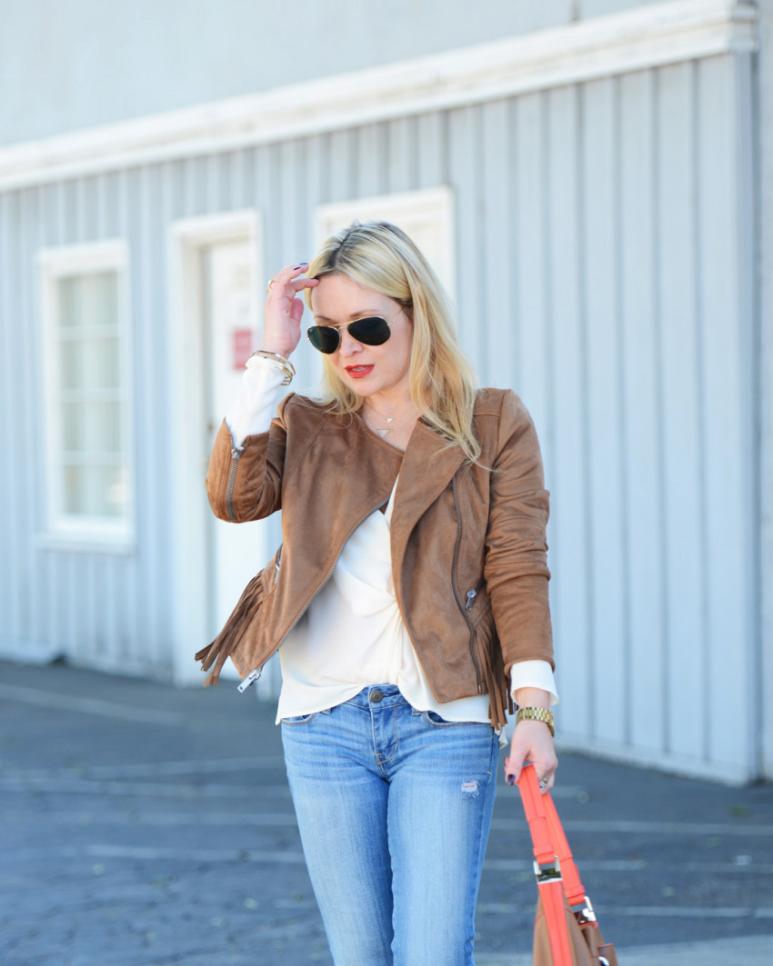 wilsons leather 9 - Fringe Suede Jacket, Silk, Denim featured by popular Los Angeles fashion blogger, The Hunter Collector