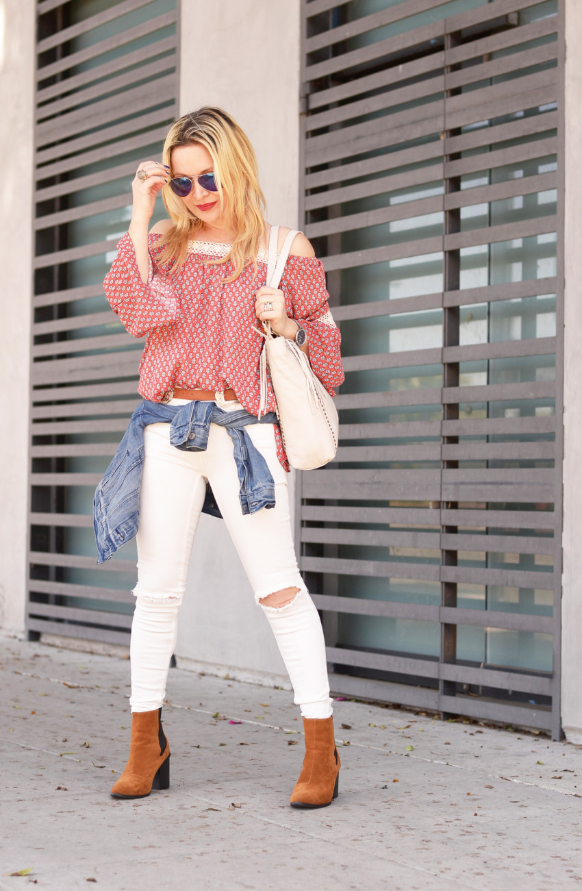 off shoulder print top 2