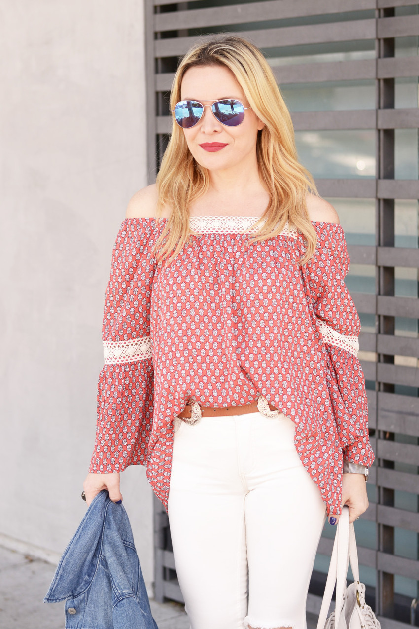 off shoulder print top 6