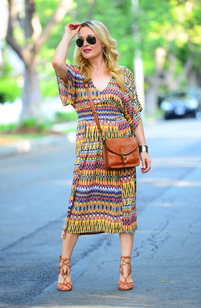 ikat dress 1 | Karina Ethnic Print Dress & Lace Up Heels featured by popular Los Angeles fashion blogger, The Hunter Collector