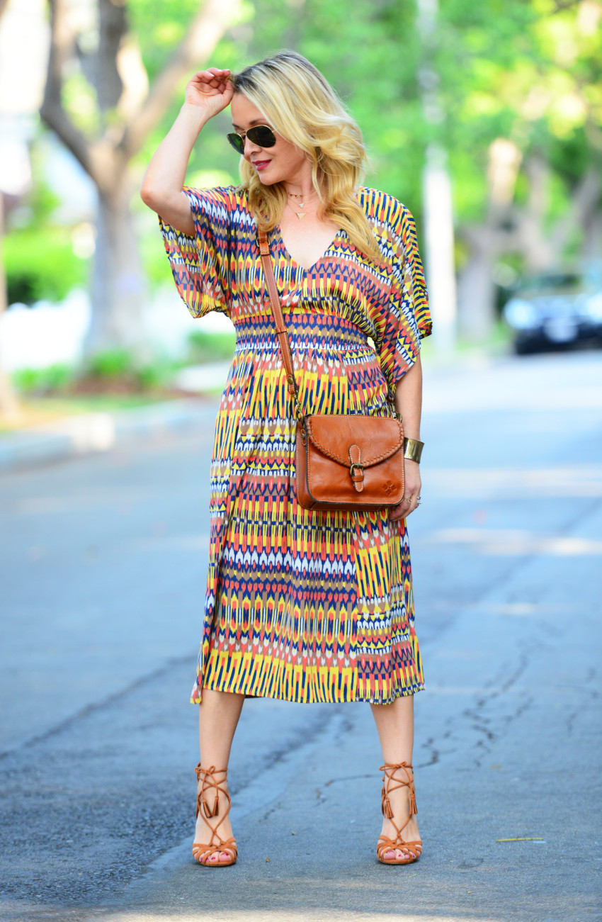 ikat dress 2 | Karina Ethnic Print Dress & Lace Up Heels featured by popular Los Angeles fashion blogger, The Hunter Collector