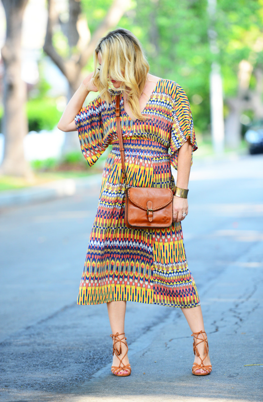 ikat dress 3 | Karina Ethnic Print Dress & Lace Up Heels featured by popular Los Angeles fashion blogger, The Hunter Collector