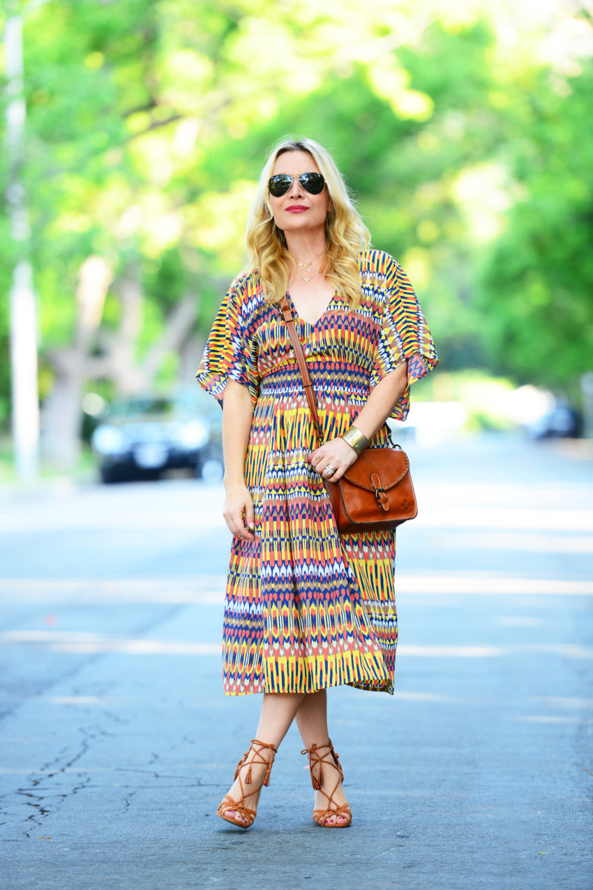 ikat dress 4 | Karina Ethnic Print Dress & Lace Up Heels featured by popular Los Angeles fashion blogger, The Hunter Collector
