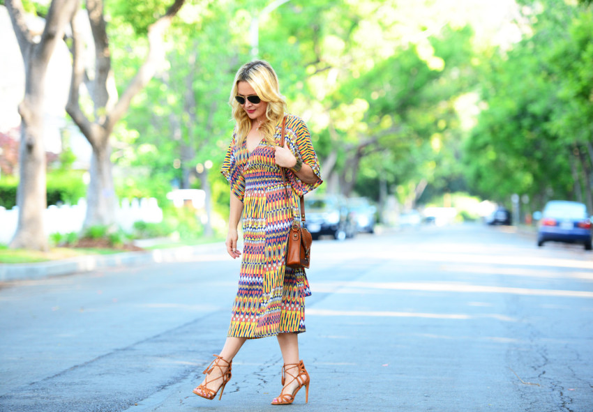 ikat dress 6| Karina Ethnic Print Dress & Lace Up Heels featured by popular Los Angeles fashion blogger, The Hunter Collector
