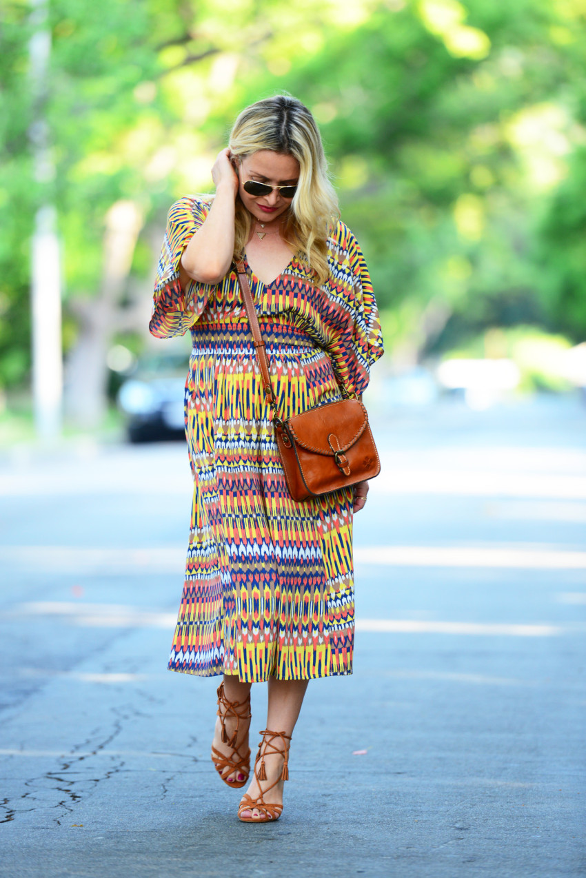 ikat dress 7 | Karina Ethnic Print Dress & Lace Up Heels featured by popular Los Angeles fashion blogger, The Hunter Collector