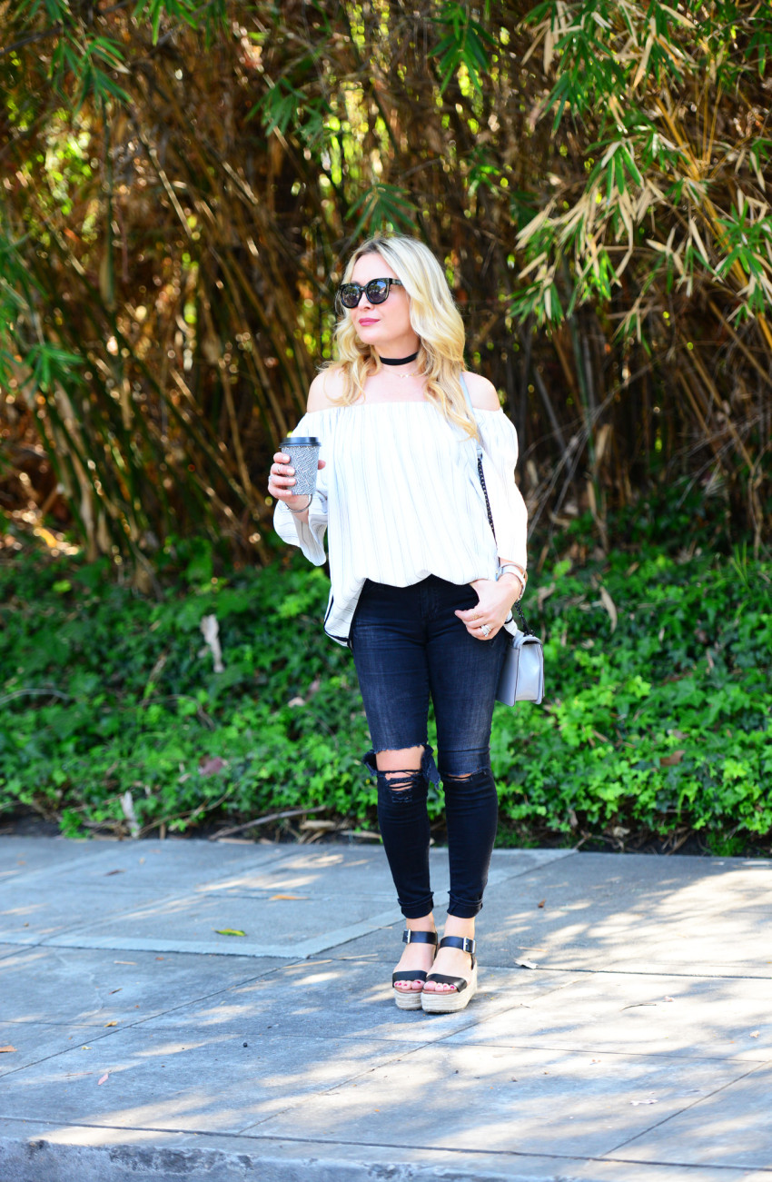 striped off shoulder top 1