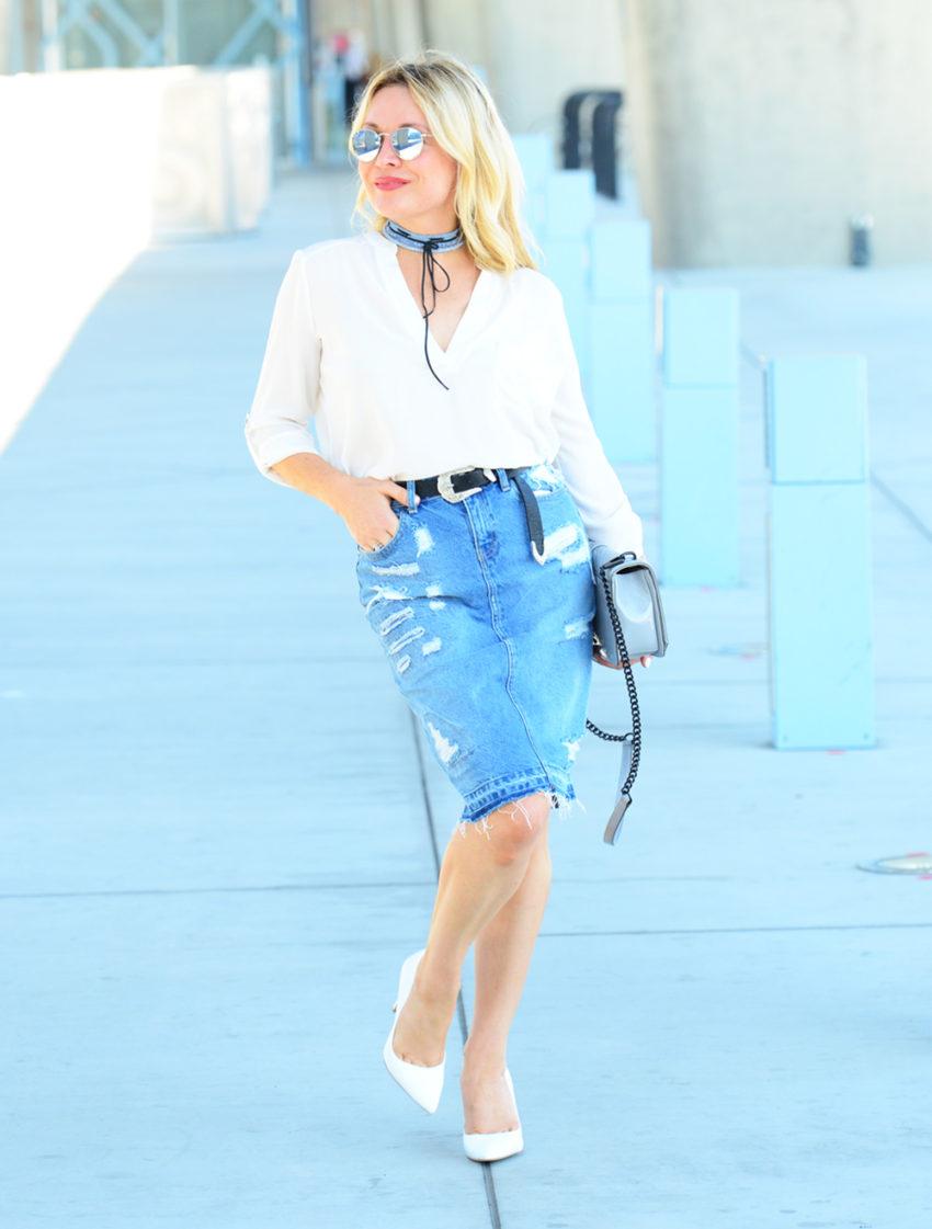 Denim Skirt, Denim Choker featured by popular Los Angeles fashion blogger, The Hunter Collector