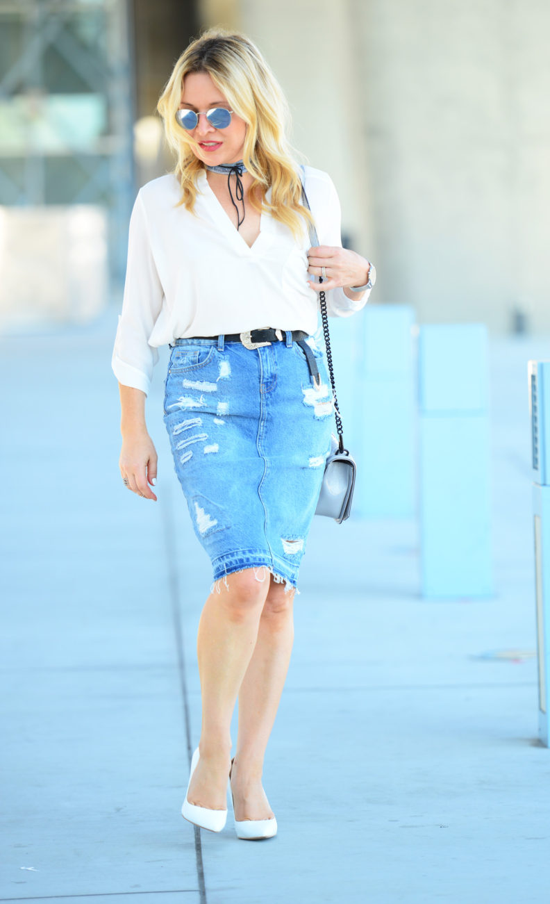 Denim Skirt, Denim Choker featured by popular Los Angeles fashion blogger, The Hunter Collector