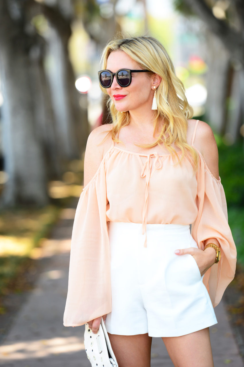 blush top white shorts 1  | Blush Bell Sleeves & Zara White High Waist Shorts featured by popular Los Angeles fashion blogger, The Hunter Collector
