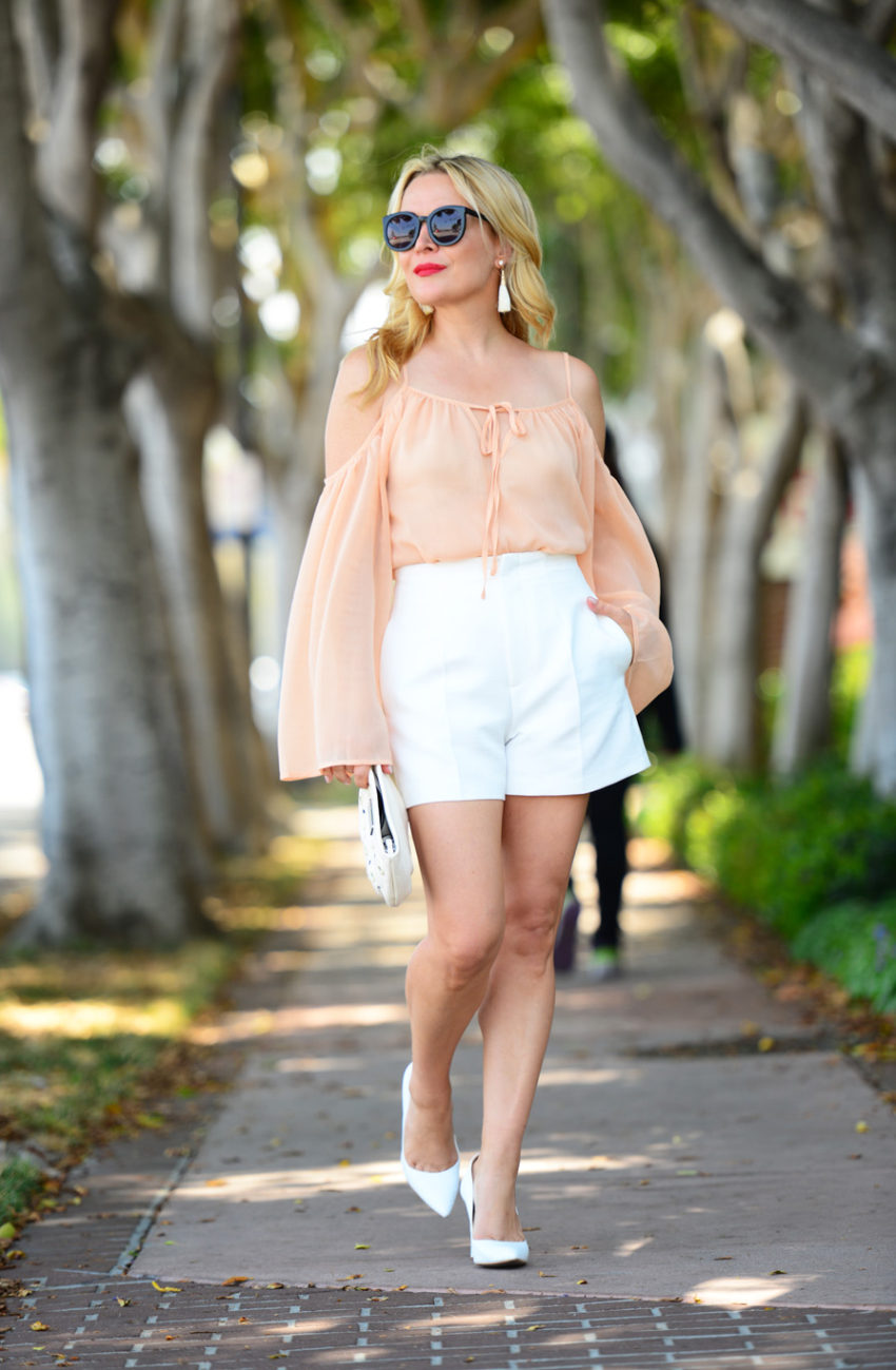 blush top white shorts 2 | Blush Bell Sleeves & Zara White High Waist Shorts featured by popular Los Angeles fashion blogger, The Hunter Collector