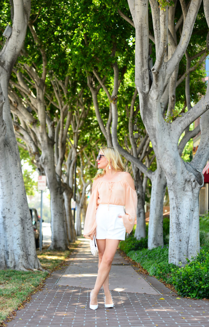 blush top white shorts 3  | Blush Bell Sleeves & Zara White High Waist Shorts featured by popular Los Angeles fashion blogger, The Hunter Collector