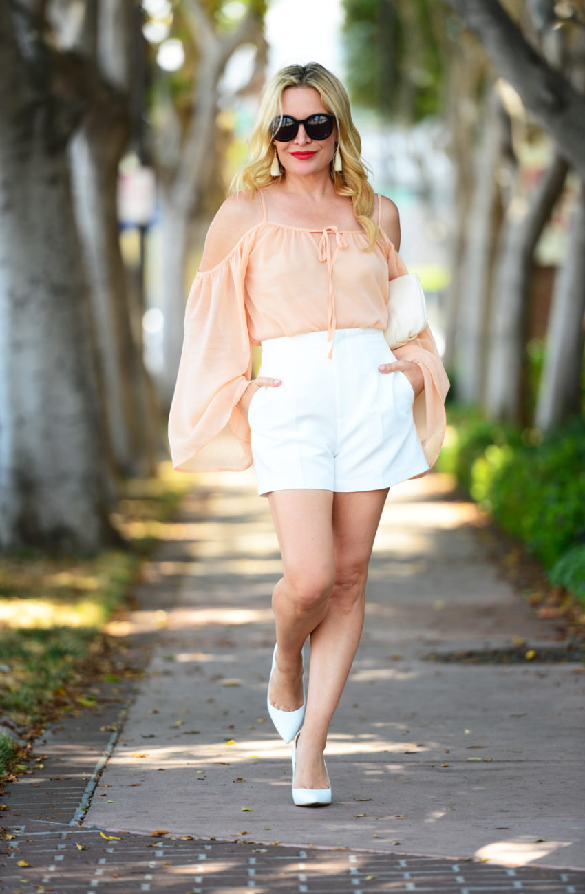blush top white shorts 4  | Blush Bell Sleeves & Zara White High Waist Shorts featured by popular Los Angeles fashion blogger, The Hunter Collector
