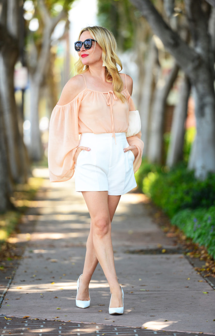 blush top white shorts 5  | Blush Bell Sleeves & Zara White High Waist Shorts featured by popular Los Angeles fashion blogger, The Hunter Collector