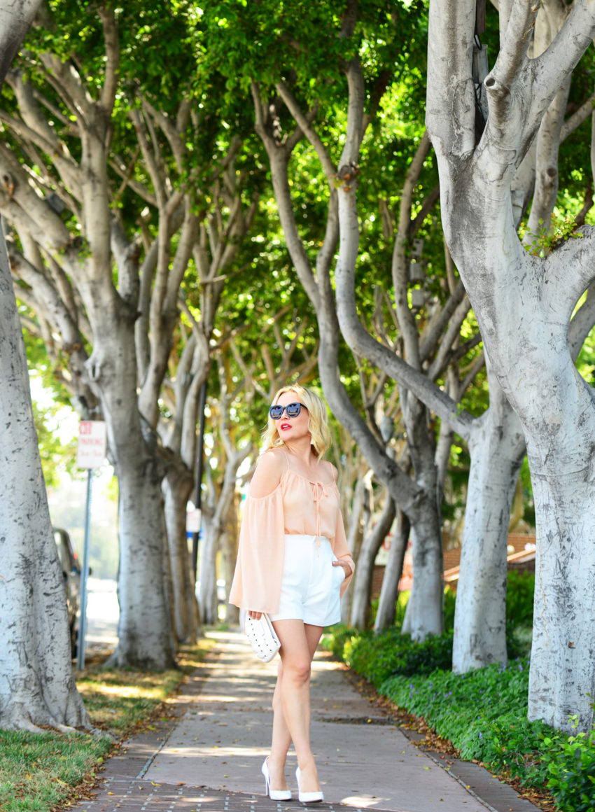 blush top white shorts 6  | Blush Bell Sleeves & Zara White High Waist Shorts featured by popular Los Angeles fashion blogger, The Hunter Collector