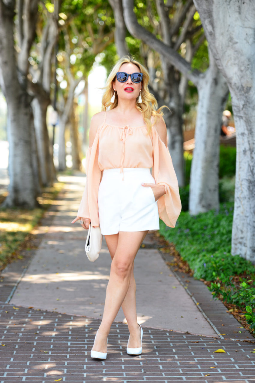 blush top white shorts 7 | Blush Bell Sleeves & Zara White High Waist Shorts featured by popular Los Angeles fashion blogger, The Hunter Collector