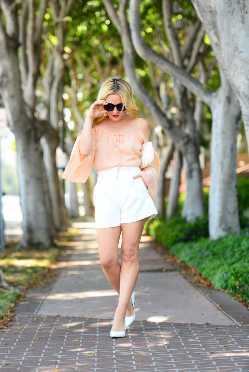 blush top white shorts 8  | Blush Bell Sleeves & Zara White High Waist Shorts featured by popular Los Angeles fashion blogger, The Hunter Collector