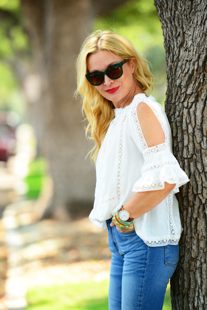 lace off shoulder 9 | Zaful White Lace Top, Frayed Denim, Straw Tote featured by popular Los Angeles fashion blogger, The Hunter Collector
