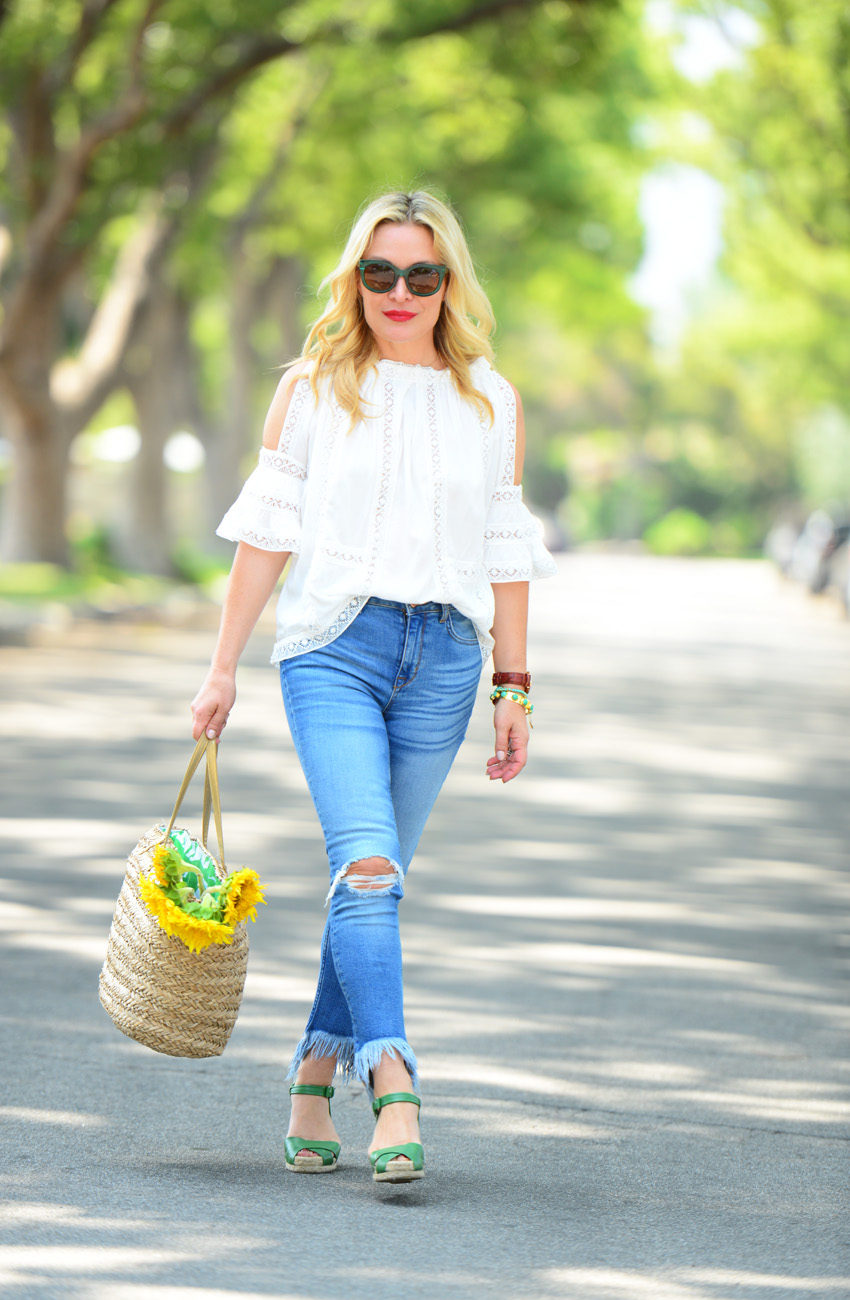 lace off shoulder top 2 | Zaful White Lace Top, Frayed Denim, Straw Tote featured by popular Los Angeles fashion blogger, The Hunter Collector