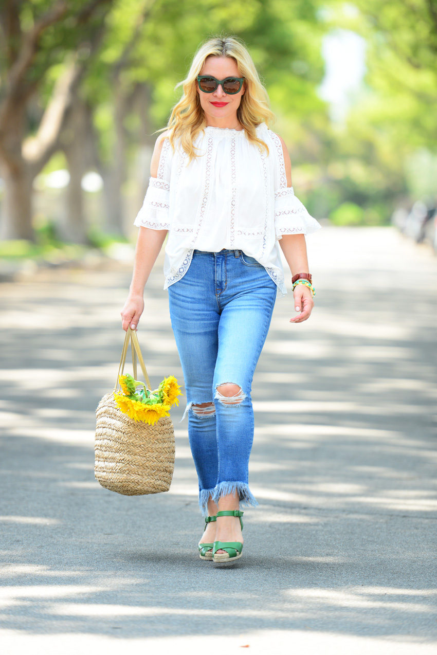 lace off shoulder top 3 | Zaful White Lace Top, Frayed Denim, Straw Tote featured by popular Los Angeles fashion blogger, The Hunter Collector