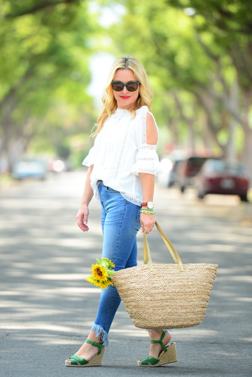 lace off shoulder top 4 | Zaful White Lace Top, Frayed Denim, Straw Tote featured by popular Los Angeles fashion blogger, The Hunter Collector
