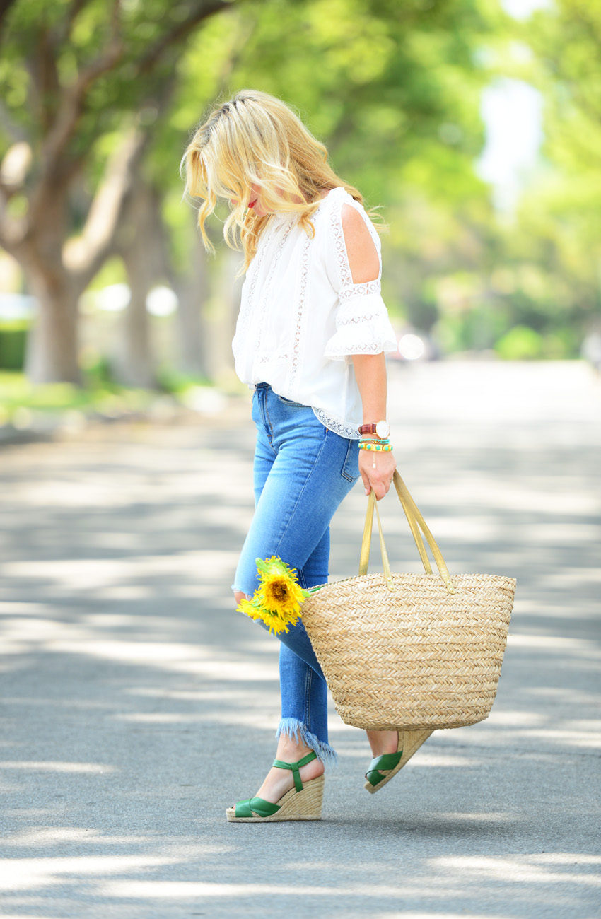 lace off shoulder top 5 | Zaful White Lace Top, Frayed Denim, Straw Tote featured by popular Los Angeles fashion blogger, The Hunter Collector