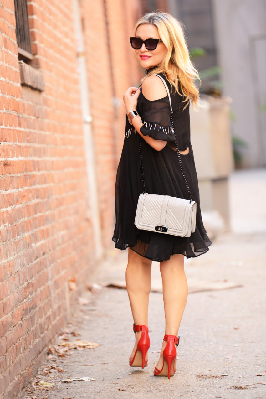 black cold shoulder dress 3