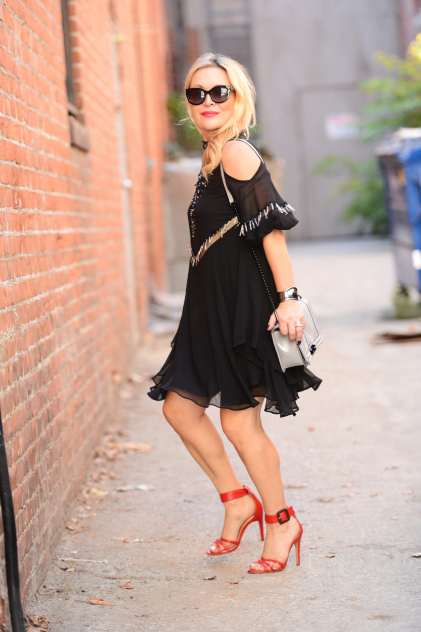 black cold shoulder dress 4