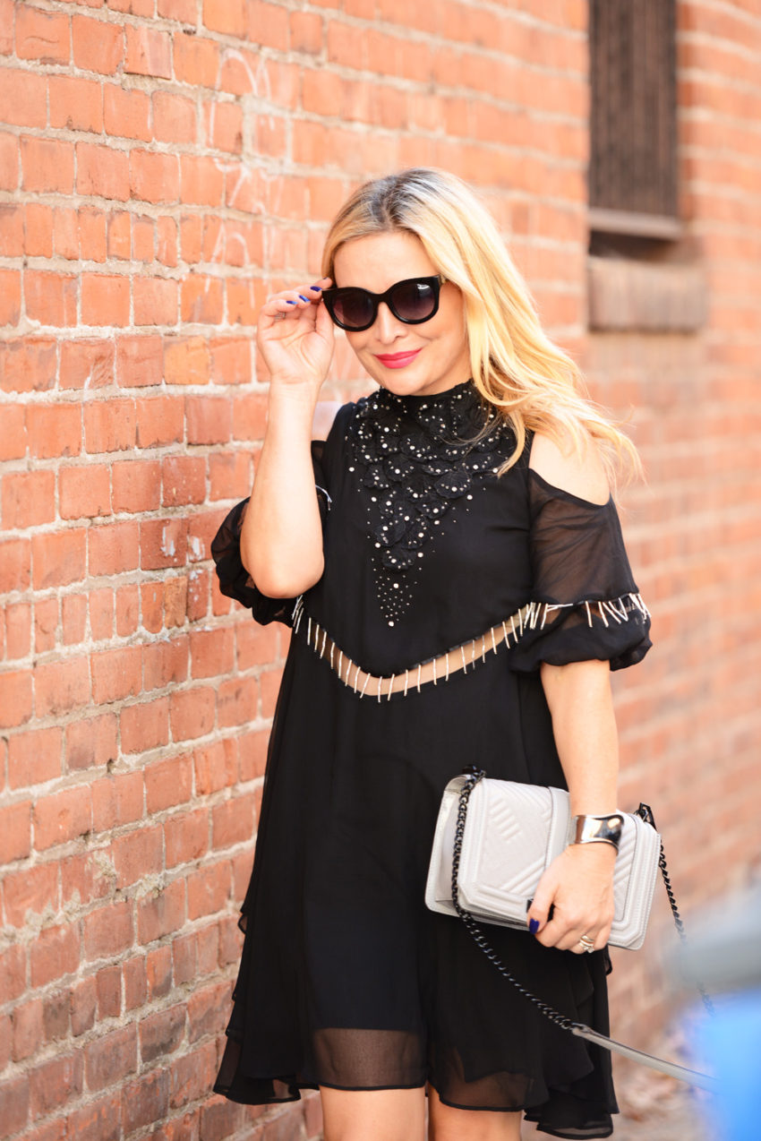 black cold shoulder dress 6