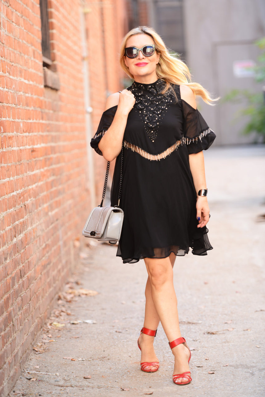 black cold shoulder dress 7