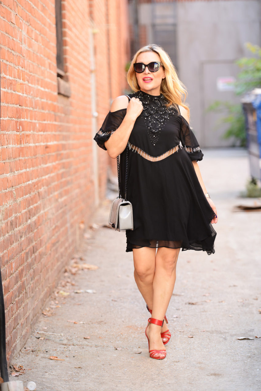 black cold shoulder dress 8