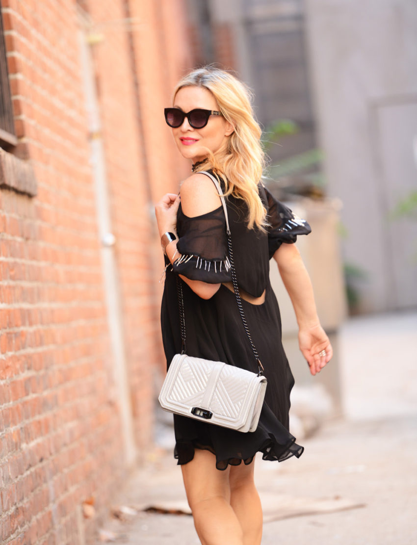 black cold shoulder dress 9