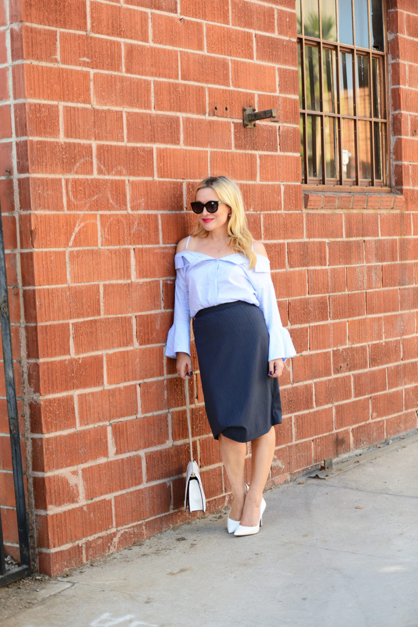 blue off shoulder & pencil skirt 1