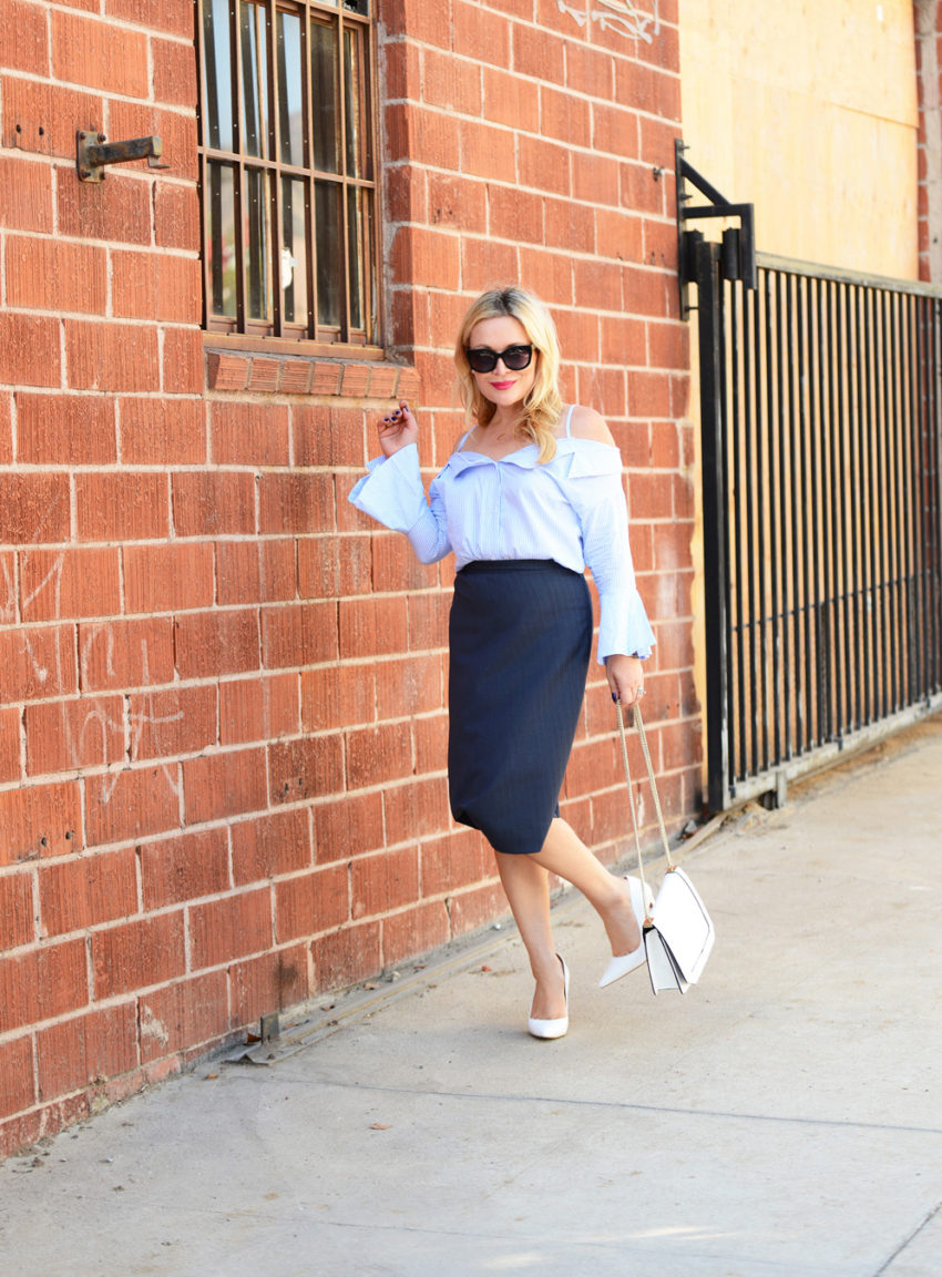 blue off shoulder & pencil skirt 2