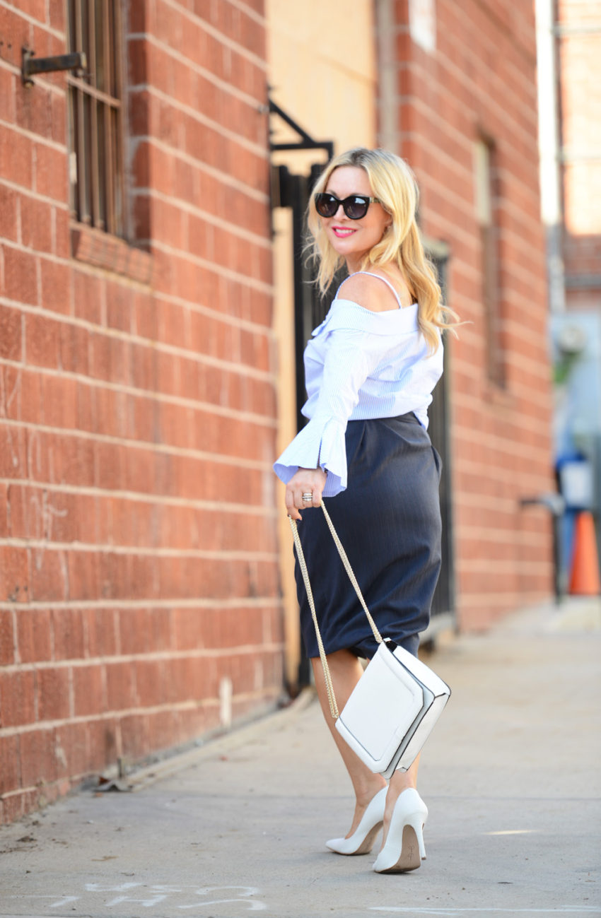 blue off shoulder & pencil skirt 3