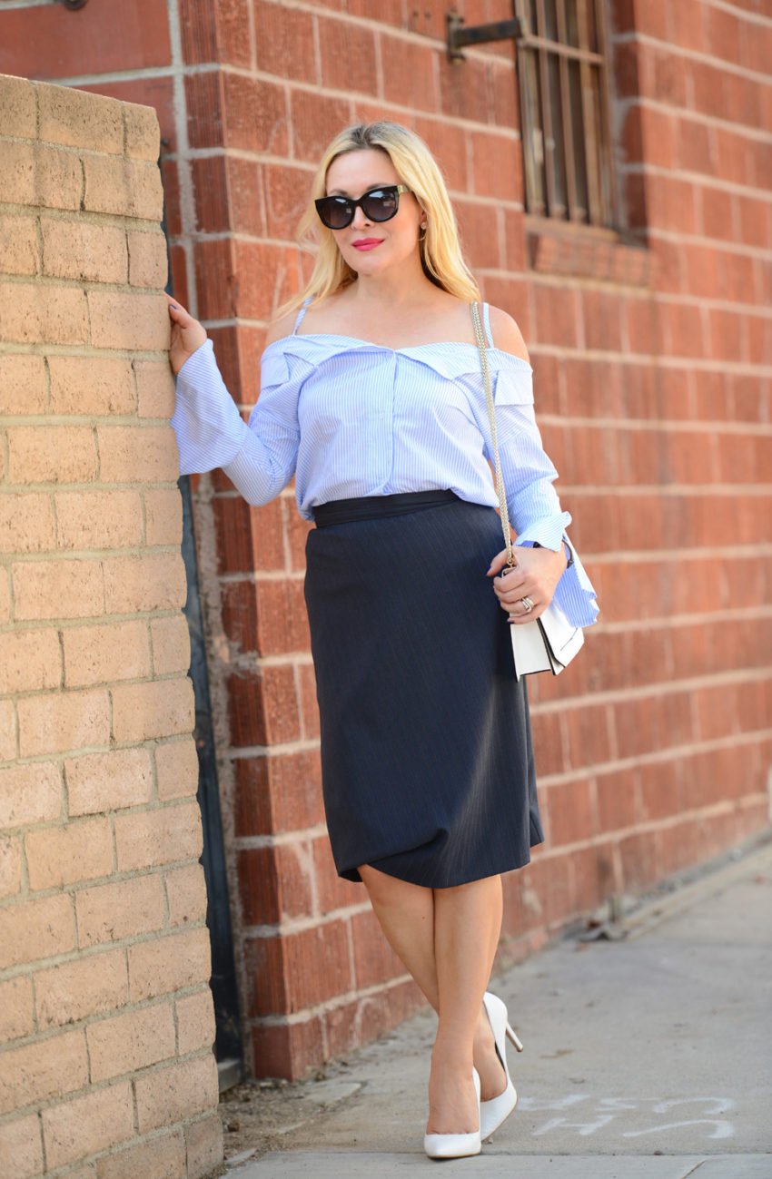 blue off shoulder & pencil skirt 4
