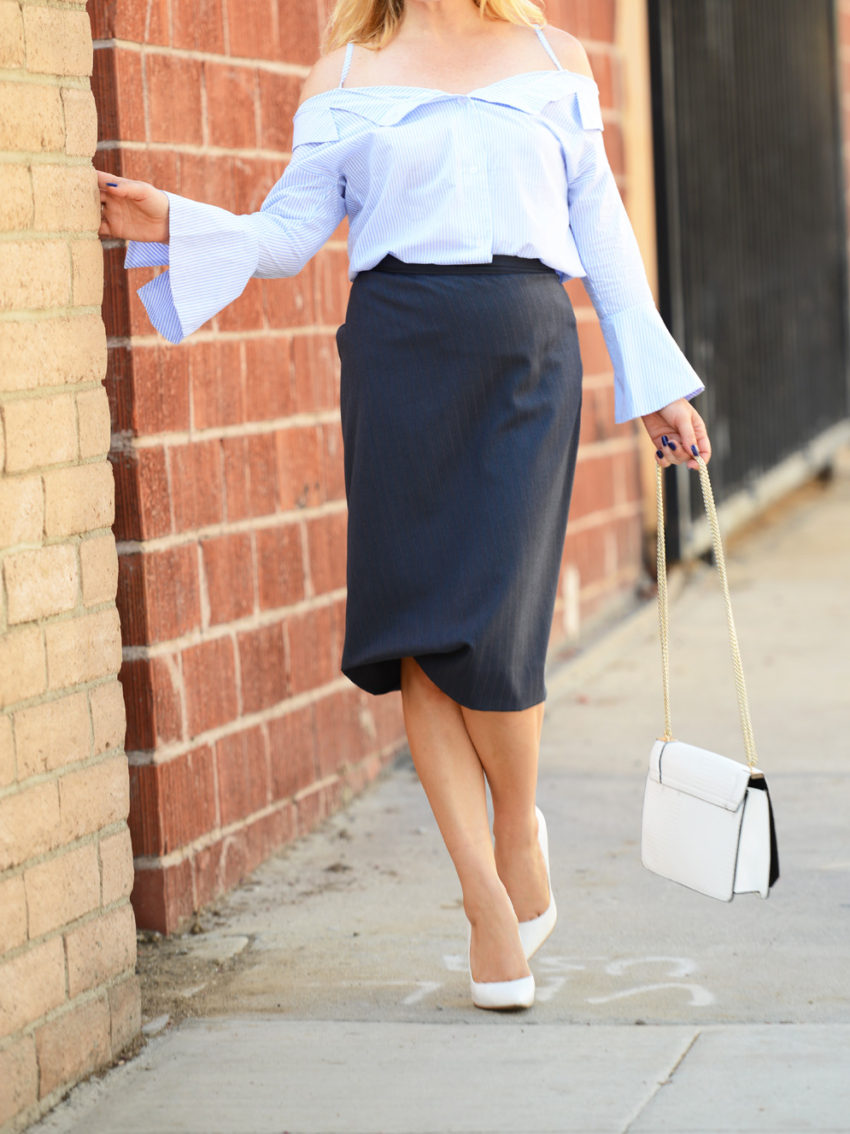 blue off shoulder & pencil skirt 5