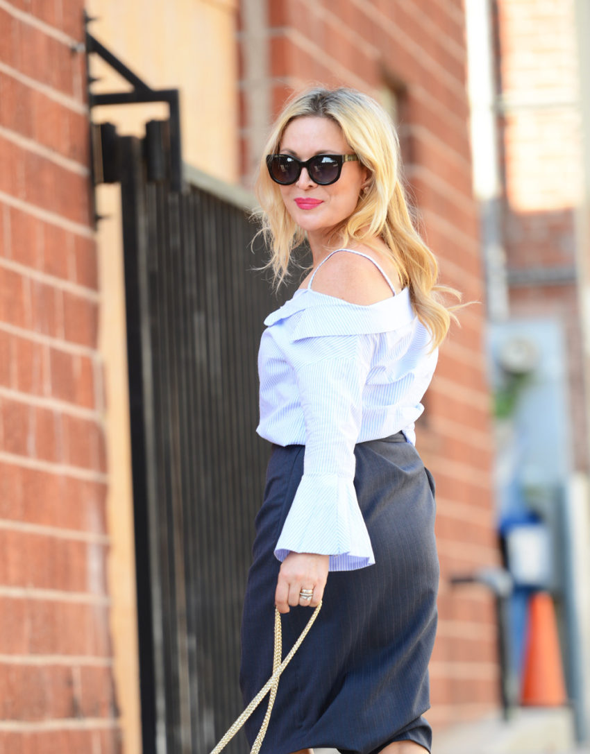 blue off shoulder & pencil skirt 6