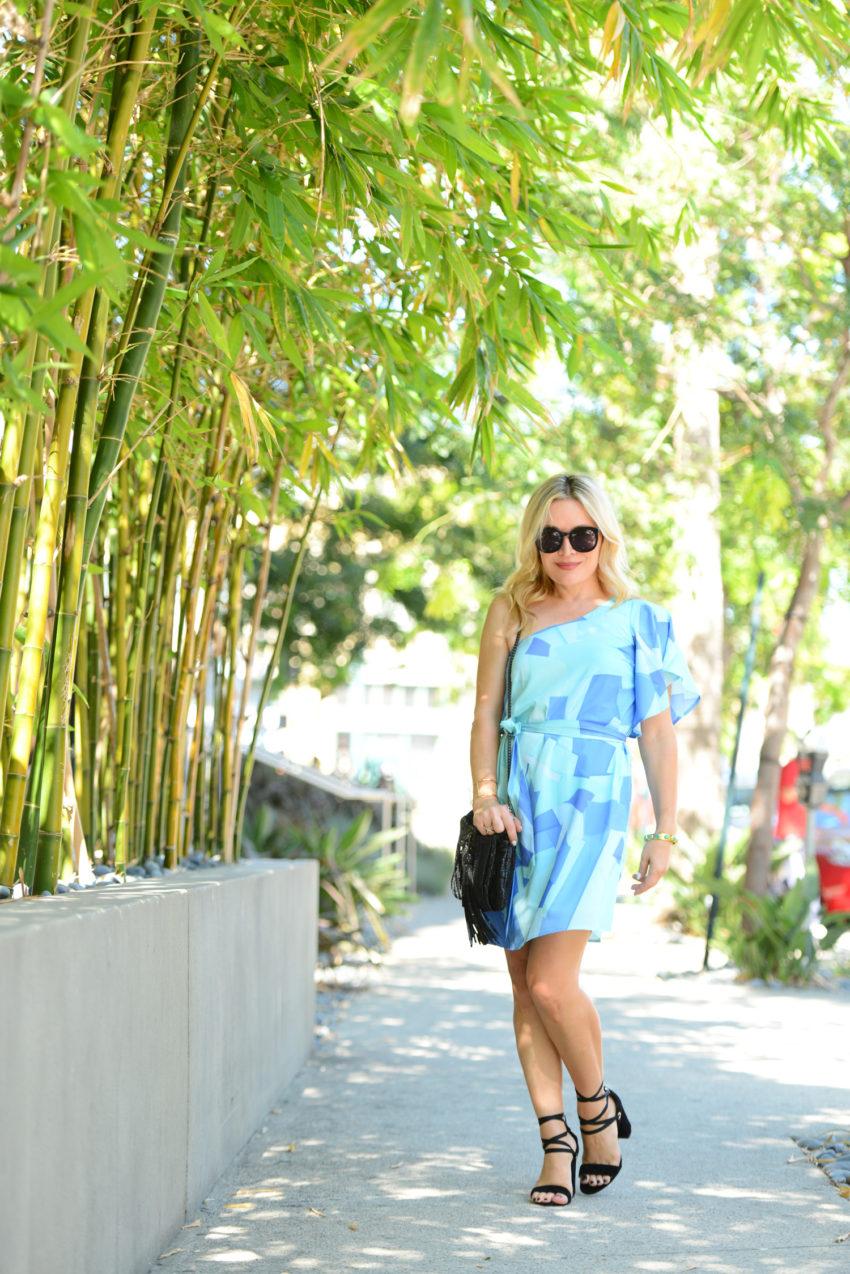 blue one shoulder dress 1