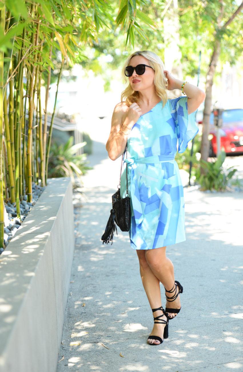 blue one shoulder dress 2