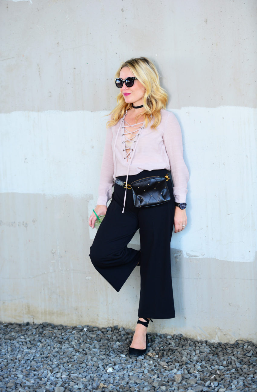 blush lace up black culottes 1